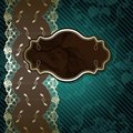 Lacy design with brown label on dark green Royalty Free Stock Photo