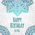 Lacy ethnic vector happy birthday card template romantic vintage invitation abstract grunge circle floral ornament good for Royalty Free Stock Image