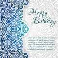 Lacy ethnic vector Happy Birthday card template. Romantic vintage invitation. Abstract grunge circle floral ornament