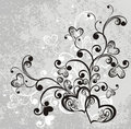 Lacy heart on dirty grey background. Vector Stock Photo