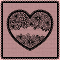 Lacy heart with empty lace net space for your text Royalty Free Stock Image