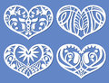 Lacy hearts, laser cutting fretwork shapes, plotter cutout love vector symbols