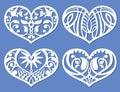 Lacy hearts, laser cutting fretwork shapes, plotter cutout love vector symbols Royalty Free Stock Photo