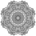 Lacy ornate vector black napkin on white background Royalty Free Stock Photography