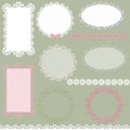 Lacy scrapbook napkin and frame design patterns on green Stock Image