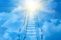 Ladder blue to blue sky sunset Royalty Free Stock Photo