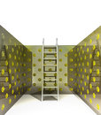 Ladder and euro pattern on the walls Royalty Free Stock Photo