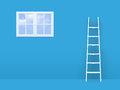 Ladder on failure to window concept white trying reach freedom blue room Stock Photography