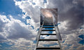 Ladder into hole in heaven revealing night Stock Photo