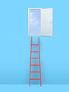 Ladder leading door career concept red trying to reach freedom open on blue room Stock Image