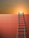 Ladder leans on wall Royalty Free Stock Photo