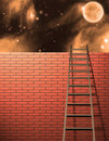 Ladder leans on wall with sky Royalty Free Stock Photo