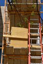 Ladder and scaffolding on a new construction site Royalty Free Stock Photo