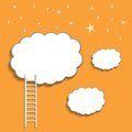 Ladder to cloud on orange background vector Royalty Free Stock Photos