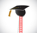 Ladder to graduation illustration design over a white background Royalty Free Stock Photos