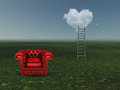 Ladder to heart shaped cloud with empty chair Royalty Free Stock Images