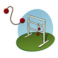 Ladder toss game golf also called with a bola in the air Stock Photos