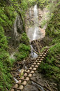 Ladder track slovak paradise extreme in national park with waterfalls in background Royalty Free Stock Photos