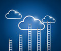 Ladders to a cloud illustration design over white background Stock Image