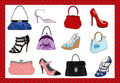 Ladies bags and shoes Stock Images