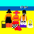 Ladies on beach with yachts. Royalty Free Stock Photo
