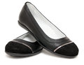 Ladies black shoes Royalty Free Stock Photo