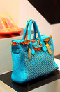 Ladies blue handbag Royalty Free Stock Photo
