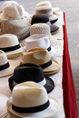 Ladies and gents hats on a table Royalty Free Stock Image