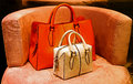 Ladies genuine leather handbags pair of for sale Stock Photo