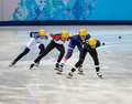 Ladies m heats short track heats sochi russia february arianna fontana ita no at at the sochi olympic games Royalty Free Stock Images