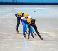 Ladies m heats short track heats sochi russia february emily scott usa no at at the sochi olympic games Stock Images