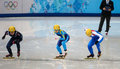 Ladies m heats short track heats sochi russia february inna simonova kaz no at at the sochi olympic games Stock Photography