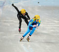 Ladies m heats short track heats sochi russia february inna simonova kaz no at at the sochi olympic games Stock Image
