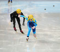 Ladies m heats short track heats sochi russia february inna simonova kaz no at at the sochi olympic games Royalty Free Stock Photos