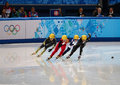 Ladies m heats short track heats sochi russia february jianrou li chn no at at the sochi olympic games Royalty Free Stock Photography