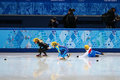 Ladies m heats short track heats sochi russia february katerina novotna cze no at at the sochi olympic games Royalty Free Stock Photography