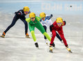 Ladies m heats short track heats sochi russia february kexin fan chn no at at the sochi olympic games Royalty Free Stock Photo