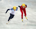 Ladies m heats short track heats sochi russia february kexin fan chn no at at the sochi olympic games Royalty Free Stock Photography