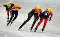 Ladies m heats short track heats sochi russia february marianne st gelais can no at at the sochi olympic games Stock Photo
