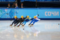 Ladies m heats short track heats sochi russia february seung hi park kor no at at the sochi olympic games Royalty Free Stock Images