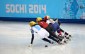Ladies m heats short track heats sochi russia february sofia prosvirnova rus no at at the sochi olympic games Stock Photography