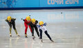 Ladies m heats short track heats sochi russia february tatiana borodulina rus no at at the sochi olympic games Royalty Free Stock Image