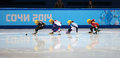Ladies m heats short track heats sochi russia february veronique pierron fra no at at the sochi olympic games Stock Image