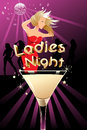 Ladies night poster a vector illustration of with copyspace Stock Image