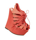 Ladies red fashion wedge heel shoes Royalty Free Stock Photo
