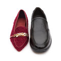 Ladies shoes and men s shoe concept of harmony couple or partnership equality Royalty Free Stock Photography