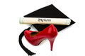 Ladies shoes and mortarboard Stock Images