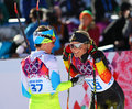 Ladies skiathlon sochi russia february claudia nystad ger r at the finish of km classic km free of sochi xxii olympic winter games Stock Image