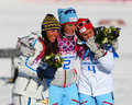 Ladies skiathlon sochi russia february medalists of km classic km free of sochi xxii olympic winter games on a flower ceremony Royalty Free Stock Image