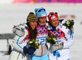 Ladies skiathlon sochi russia february medalists of km classic km free of sochi xxii olympic winter games on a flower ceremony Stock Photography